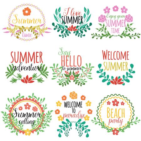 Getekend element set concept met zomertijd geniet van je zomertijd hallo zeg op de zomer en anderen beschrijvingen vector illustratie