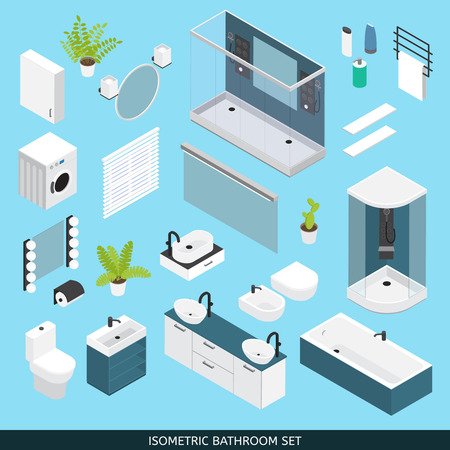 needed: Bathroom colored isometric icon set with furniture and elements needed for repair vector illustration Illustration