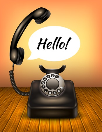 vintage telephone: Isolated realistic old style or vintage telephone with speech bubble and text hello vector illustration Illustration