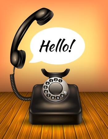 cable telefono: viejo estilo realista aislado o teléfono de la vendimia con el bocadillo y el texto ilustración vectorial hola
