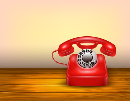 vintage telephone: Red telephone concept with realistic vintage dial phone on brown wooden table vector illustration