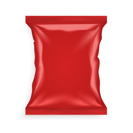 Realistic red plastic bag with shadows and highlights isolated on white background vector illustration