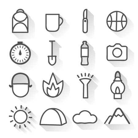 wheather: Camping monochrome linear icons set with  mountain and wheather signs hiking gear isolated vector illustration Illustration