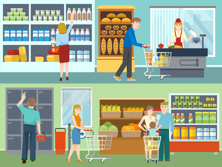 cash: Buyers in supermarket concepts with cash desk dairy products vegetables and bread storage lockers isolated vector illustration