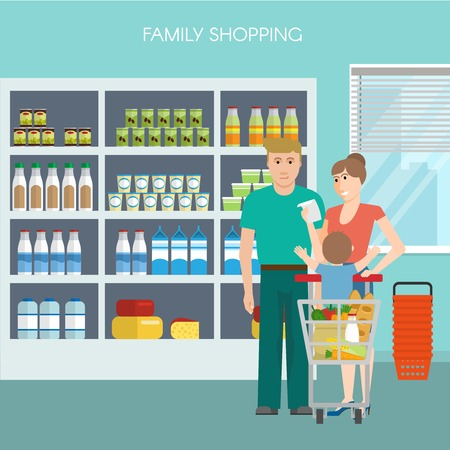 family shopping: Family shopping design in blue color with couple and child goods in trolley supermarket shelves vector illustration Illustration