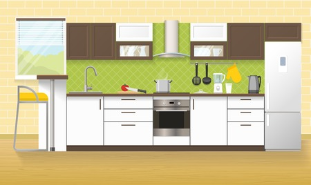Modern kitchen interior with white brown furniture cooker hood household appliances beige wall and floor vector illustration