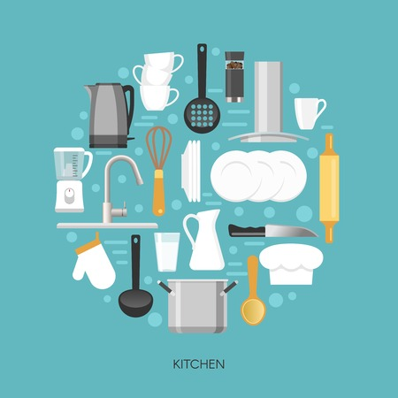 skimmer: Kitchen round composition with household appliances faucet crockery and utensils on blue background vector illustration