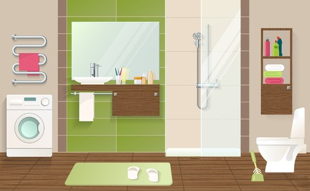 laundry machine: Bathroom interior concept with laundry machine sanitary equipment green beige walls and tiled brown floor vector illustration