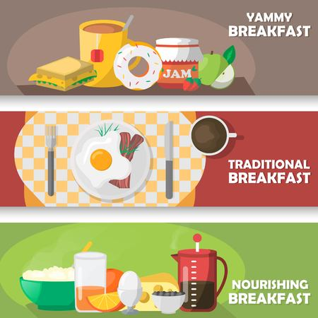 nourishing: Breakfast horizontal banners set with yummy pastry and tea traditional eggs dish nourishing meal isolated vector illustration