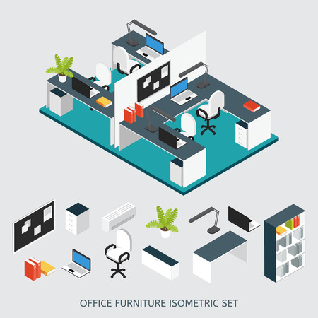 corporate people: Isometric interior office workplace colored composition with renovated office and isolated icon set vector illustration Illustration