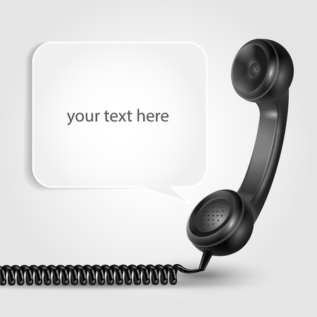 bubble speach: Black realistic handset with shadowed speach bubble and place for text your text here vector illustration