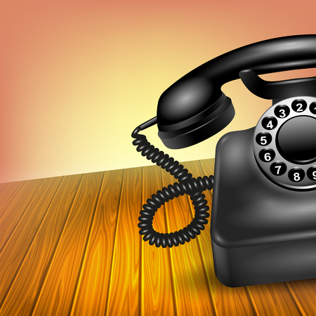 vintage telephone: Old telephone concept realistic black half vintage dial phone on wooden table vector illustration