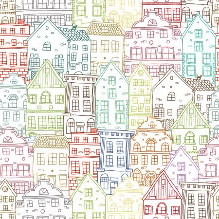 disegnati a mano le case seamless con Old European piedi vicino edifici di diversa illustrazione vettoriale architettura