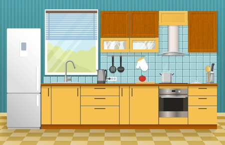 textural: Kitchen interior concept with window yellow cupboards and cabinets blue textural wall and tiled floor vector illustration
