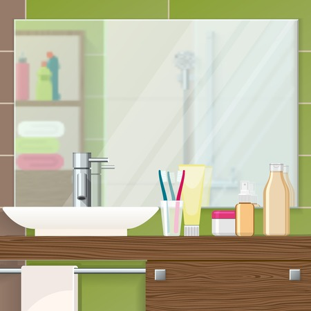 Bathroom interior closeup with mirror on tiled wall sink and cosmetics on textural brown shelf vector illustration