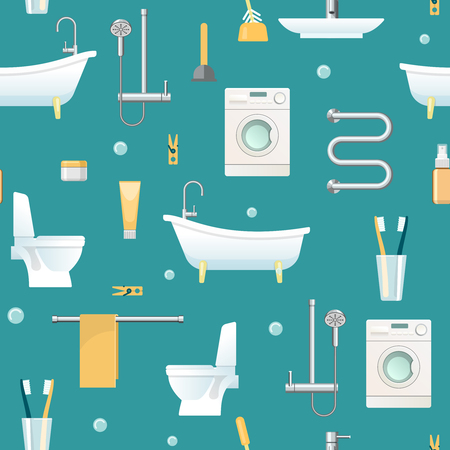 domestic bathroom: Bathroom seamless pattern with domestic appliances and sanitary equipment hygiene objects on blue background vector illustration