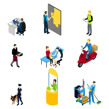 Characters professions isometric set with policeman builder doctor manager and workers of different services isolated vector illustration