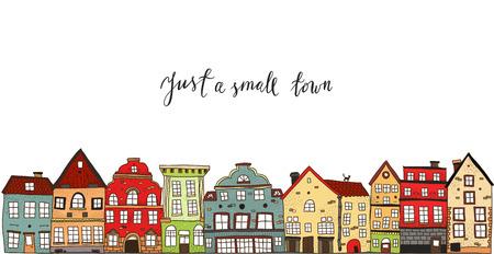 Kleine stad ontwerp met kalligrafische titel geschilderde huizen van verschillende stijl op een witte achtergrond vector illustratie