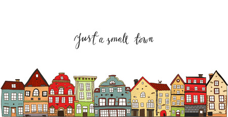 Small town design with calligraphic title painted houses of different style on white background vector illustration