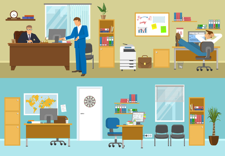 empty office: Office interior compositions with businesspersons in beige room and empty workplaces with blue walls isolated vector illustration