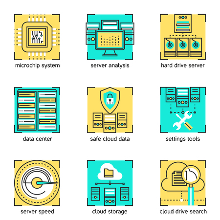 cloud service: Datacenter linear concept with server settings and cloud service hardware and microchip system isolated vector illustration Illustration