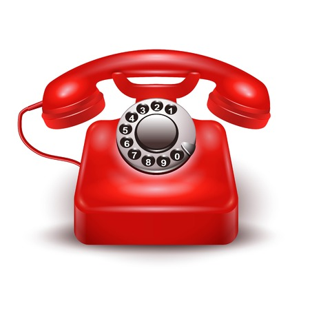 Realistic old style red telephone isolated with black dial on the white background vector illustration