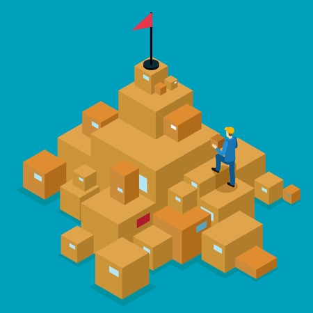 cartons: Delivery service isometric concept with man walking on cartons to goal on blue background vector illustration