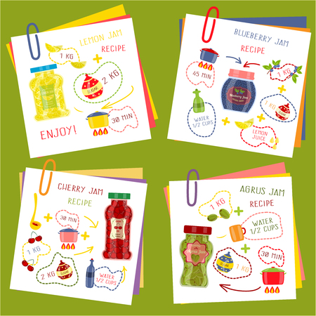 dishes set: Recipe of cooking jam set including paper sheets and ingredients for fruit dishes isolated vector illustration Illustration