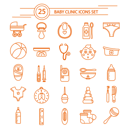 medical supplies: Baby clinic linear icons set with  clothing and toys care products and medical supplies isolated vector illustration Illustration