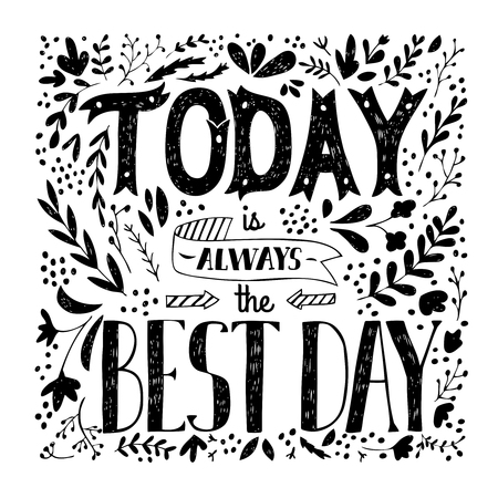 leafy: Hand drawn monochrome quote with calligraphic font floral and leafy ornament ribbon and arrows vector illustration