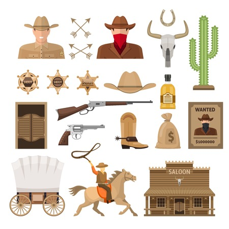 wooden horse: Wild west decorative elements set with sheriff and bandit cowboy accessories wagon and rider isolated vector illustration