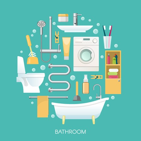 laundry machine: Bathroom round composition including sanitary equipment laundry machine cosmetics and toothbrushes on blue background vector illustration Illustration