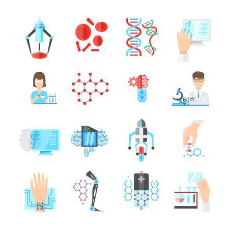 ナノテクノロジー フラット アイコン科学者マイクロ チップと薬研究所研究 dna およびデバイス分離ベクトル イラスト セット  イラスト・ベクター素材