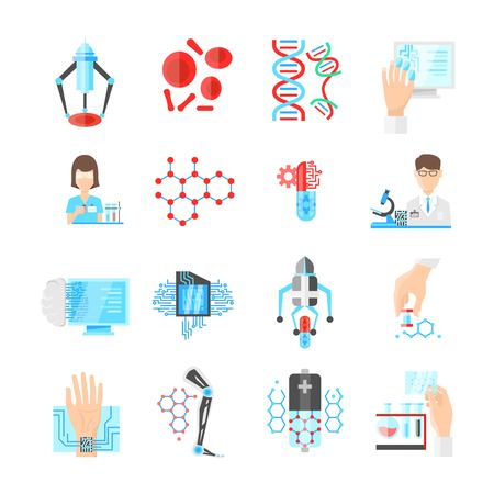 researches: Nanotechnology flat icons set with scientists microchips and drugs laboratory researches dna and devices isolated vector illustration Illustration
