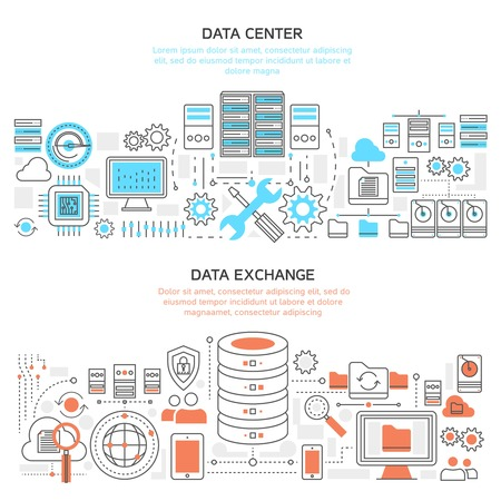 Datacenter horizontal linear banners with hardware and server protection global exchange of information isolated vector illustration Illustration