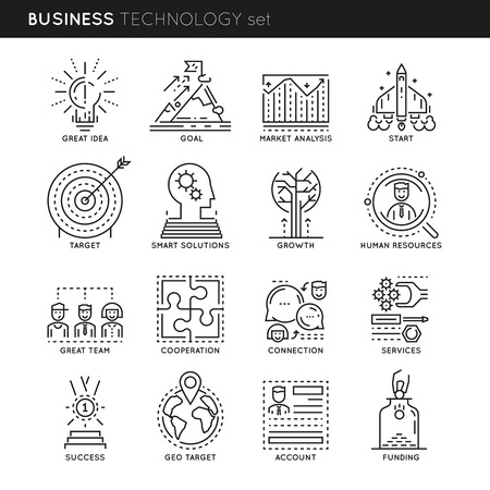 smart goals: Business technology linear icons set with great idea market analysis and human resources connections isolated vector illustration