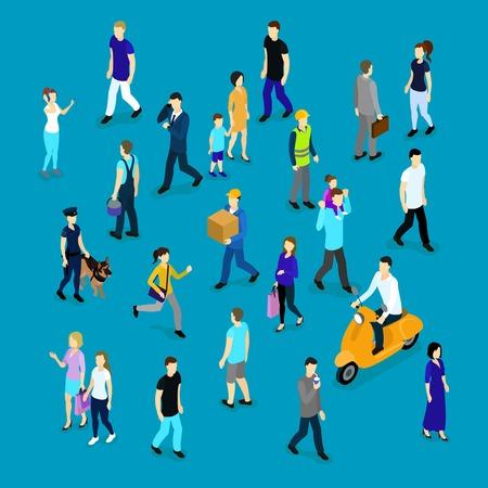 家族労働者と分離された青い背景ベクトル イラスト ビジネスマン群衆アイソ メトリック コレクションの人々