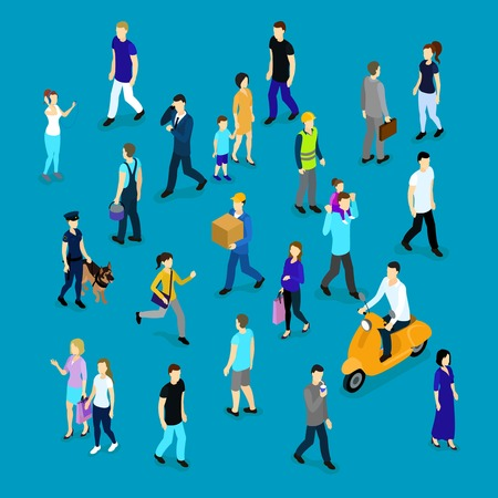 People in crowd isometric collection with families workers and businesspersons on blue background isolated vector illustration