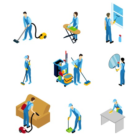 Professional cleaners isometric icons set with men and women doing different work isolated vector illustration Illustration