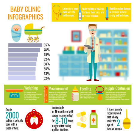 medications: Baby clinic infographics with doctor on blurred background child accessories and medications statistics and diagram vector illustration Illustration