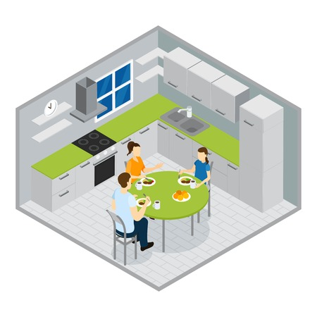sitting at table: Family meal isometric design with parents and girl teenager sitting at round table in kitchen vector illustration