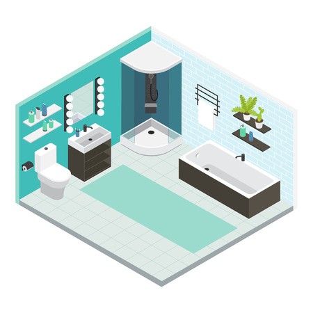floor plant: Isometric colored interior bathroom composition with finished repair or layout of repair vector illustration