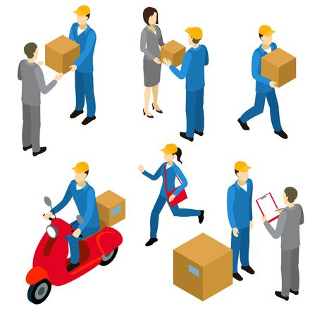 cartons: Delivery isometric characters set with couriers in uniform and transfers of cartons to businesspersons isolated vector illustration