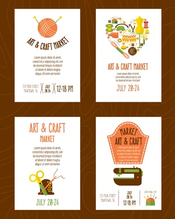 textural: Hand craft market posters set with sewing and knitting tools on brown textural background isolated vector illustration