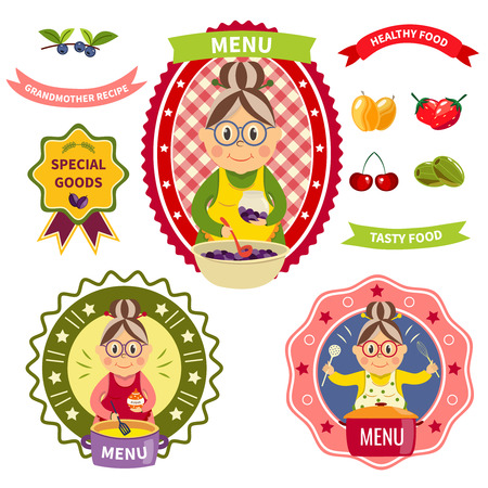 Healthy food menu colorful labels with smiling grandmother in apron fruit and berries cookware isolated vector illustration
