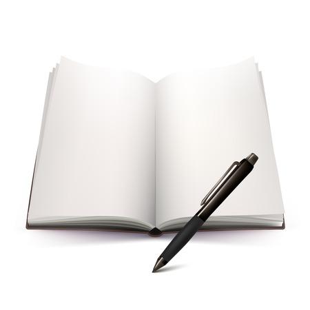 ballpoint: Blank open hardcover notebook and automatic ballpoint black pen 3d design on white background vector illustration Illustration