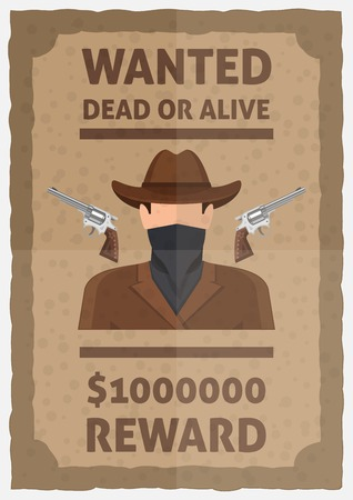 alive: Wanted dead or alive poster with weapon man in scarf and hat reward in dollars vector illustration Illustration
