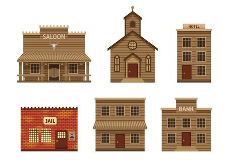 casas salvaje oeste conjunto con la construcción residencial y la cárcel aislado ilustración vectorial hotel de la iglesia y el salón de piedra