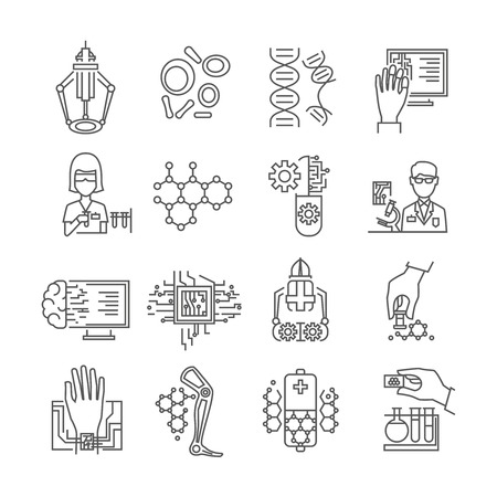nanotechnology: Nanotechnology linear icons set with robots and microchips scientists in laboratories dna and particles isolated vector illustration Illustration