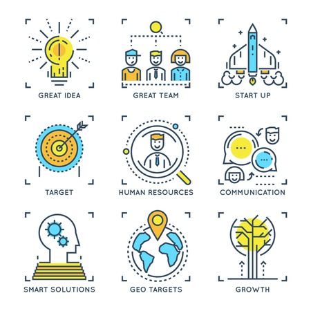 smart goals: Business elements linear concept including target startup team and communications smart solutions and growth isolated vector illustration